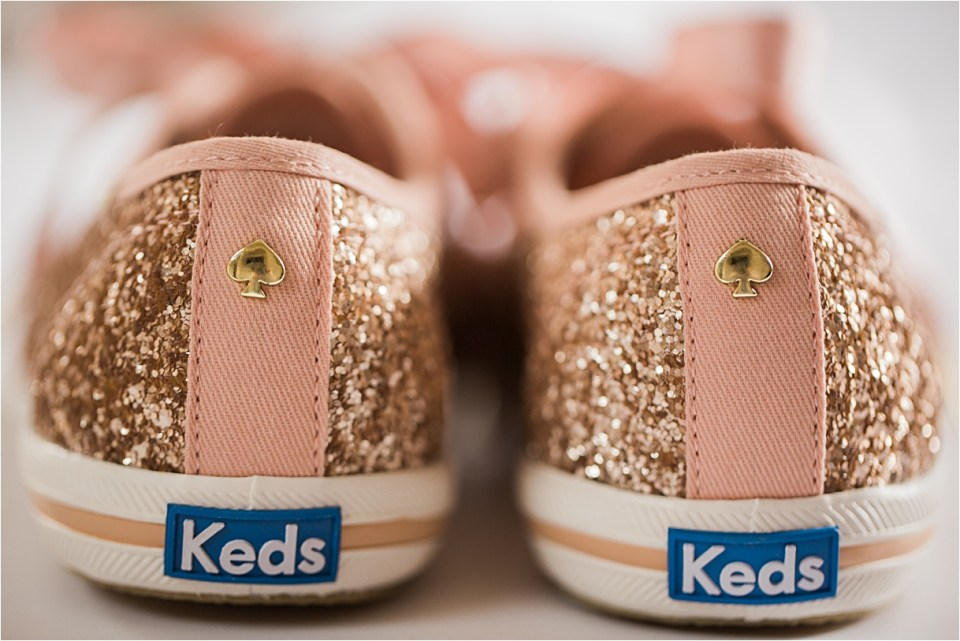 Kate Spade rose gold sparkly Keds.