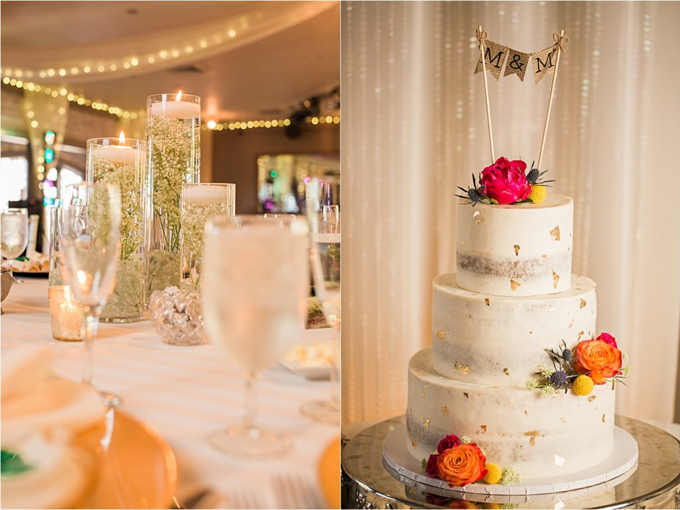Gold flecked wedding cake by Ambrosia Cakes in Tucson, Arizona
