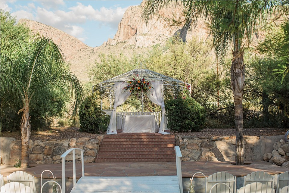 Wedding Ceremony at Reflections at the Buttes , under the Pusch Ridge Mountains, in Tucson, Arizona