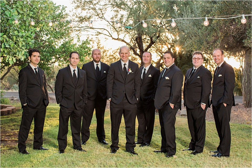 Groom and groomsmen at Reflections at the Buttes, Tucson, Arizona