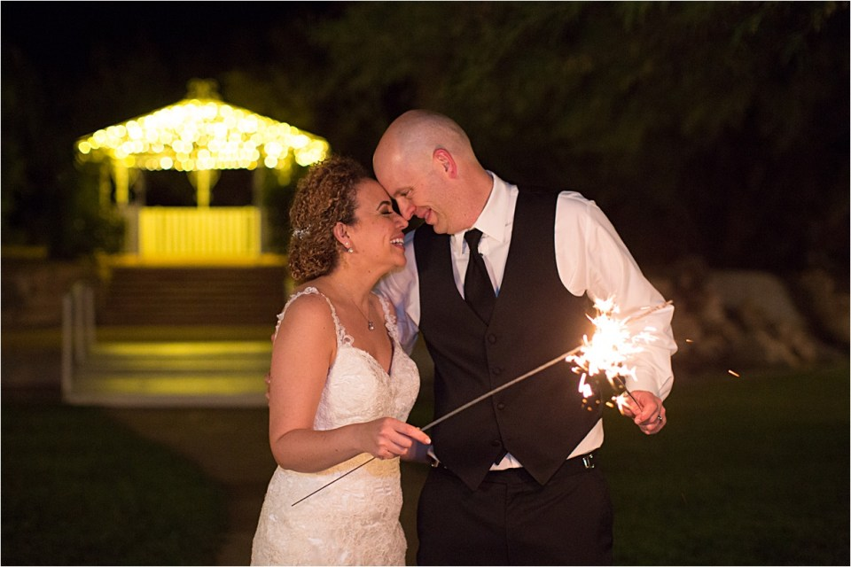 Bride and groom with Sparklers at Reflections at the Buttes, Tucson, Arizona