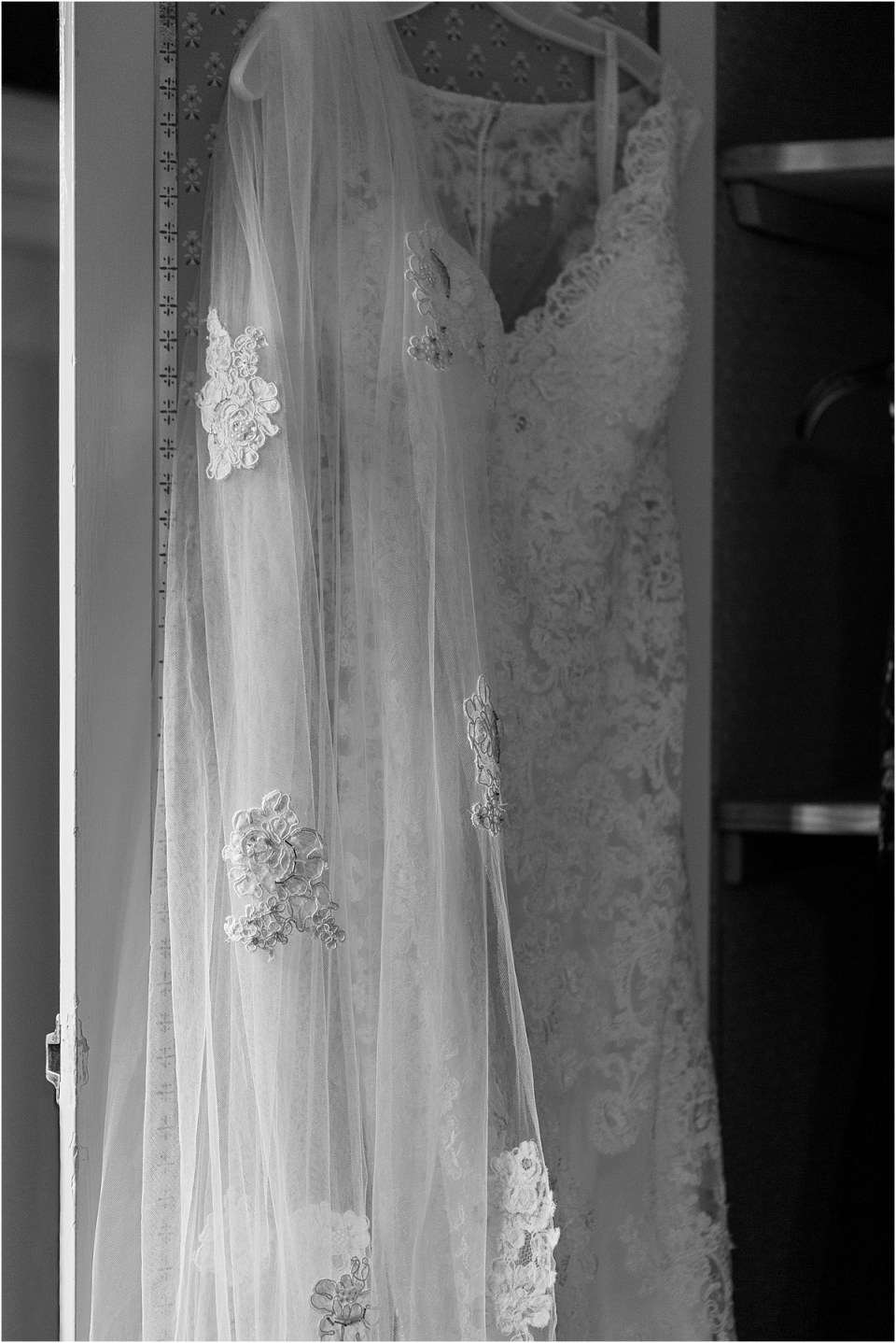 Wedding Dress with Mother's veil.
