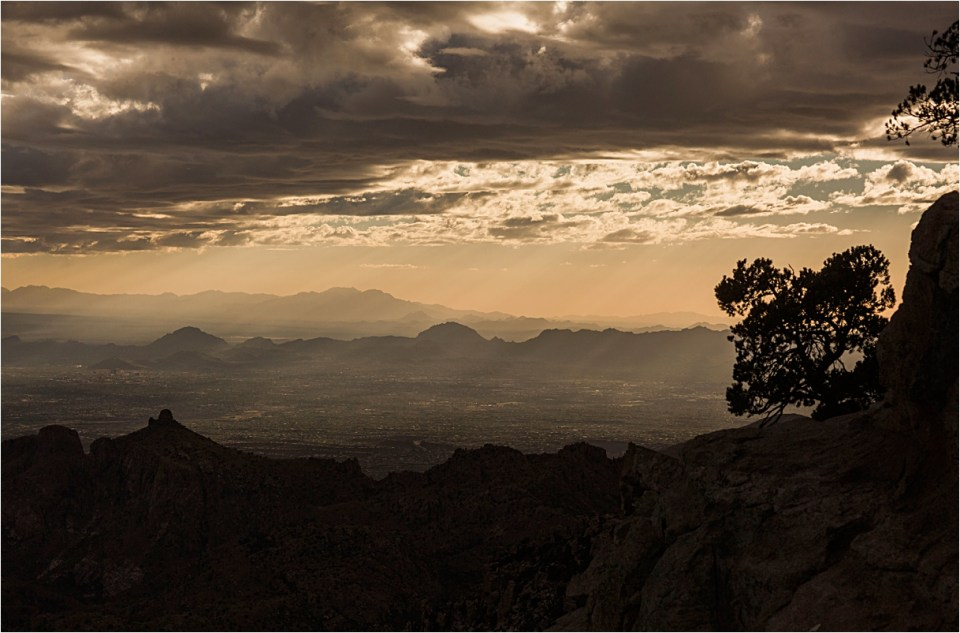 Sunset mountain views from Windy Point, Mount Lemmon.