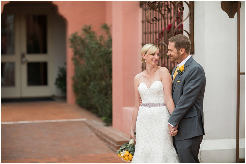 Bride and Groom First Look at Historical Arizona Inn, Tucson, Arizona