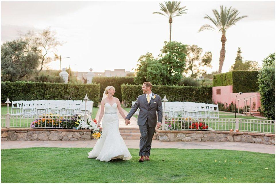 Bride and Groom portraits at the historic Arizona Inn in Tucson, Arizona.