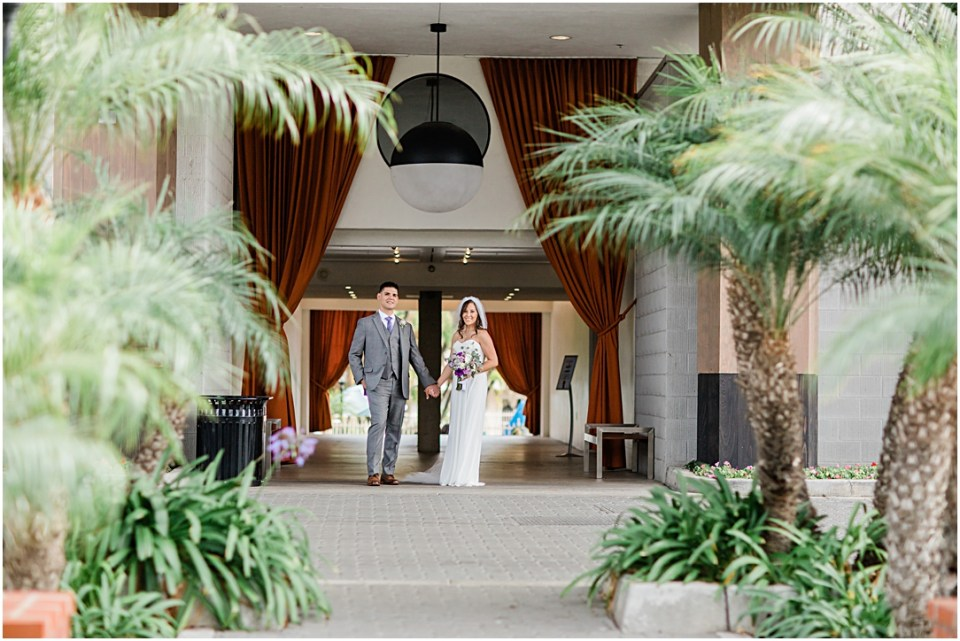 Bride and Groom at Town and Country Hotel in San Diego.