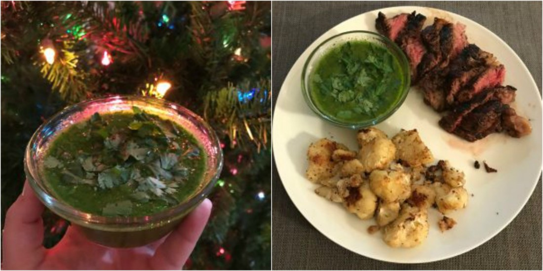 Chimichurri is such a fresh accompaniment to steak (and chicken) and it is super easy to make!  All you need is a blender and the ingredients.
