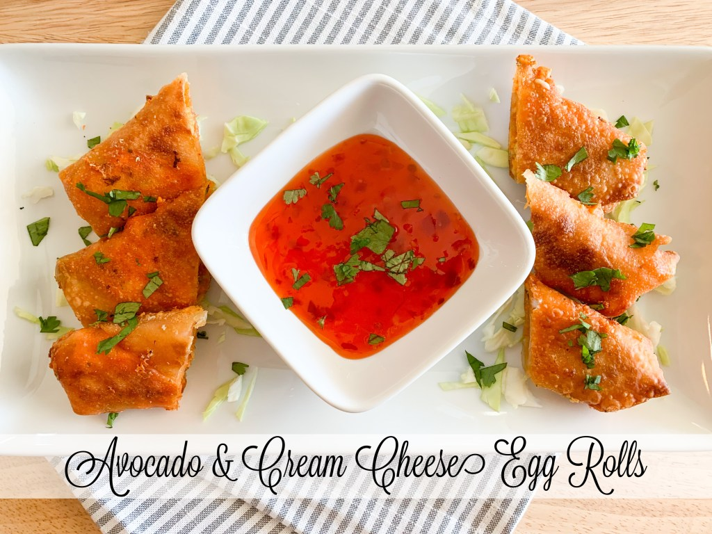 These avocado and cream cheese egg rolls are a delicious vegetarian option! They are full of flavor and you can customize to your liking!