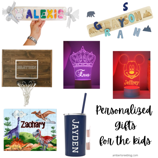 Here are a few personalized gifts for kids!  These are all from Etsy, and Etsy has tons of fun and unique ideas if you just look around.
