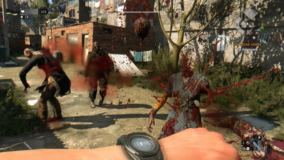 Cutting a zombies head of in Dying Light