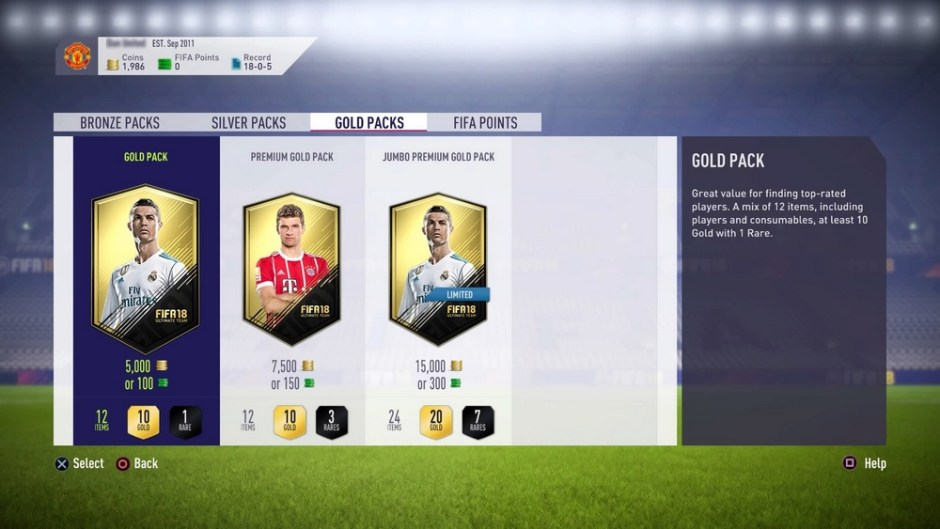 FIFA 18 pack purchase screen