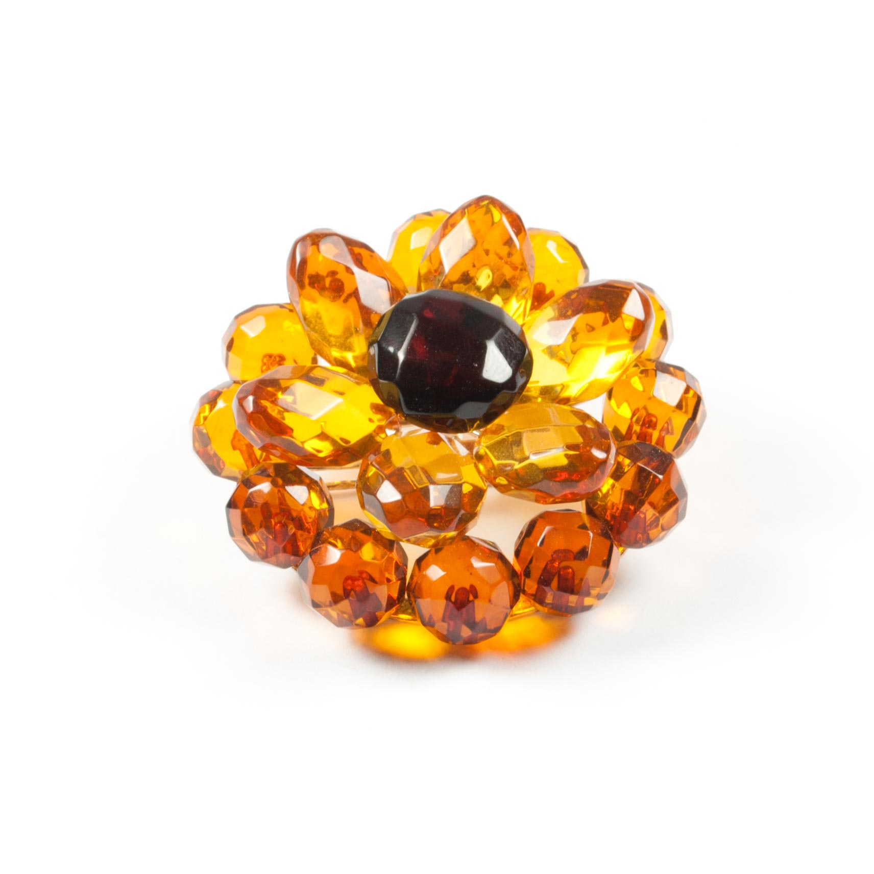 Natural Faceted Amber Brooch