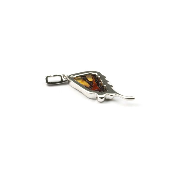 "Silver Pendant with Natural Baltic Amber ""Butterfly Wing"""