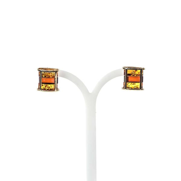 14k gold amber earrings on holder