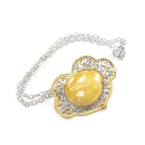 silver-necklace-with-gold-plated-silver-pendant-with-amber-stone-mango-1