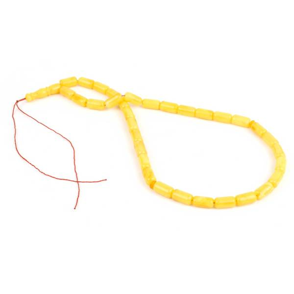 Natural Baltic Amber Yellow Barrels Prayer Beads