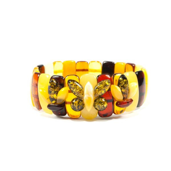 stunning amber bracelet with flowers and butterfly
