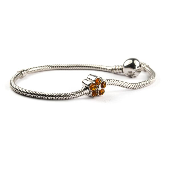 Pandora Style Silver Charm with Amber On Bracelet