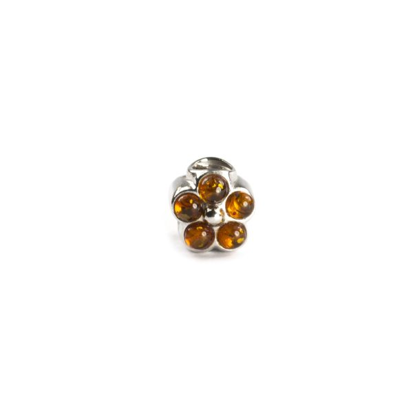 Pandora Style Silver Charm with Amber