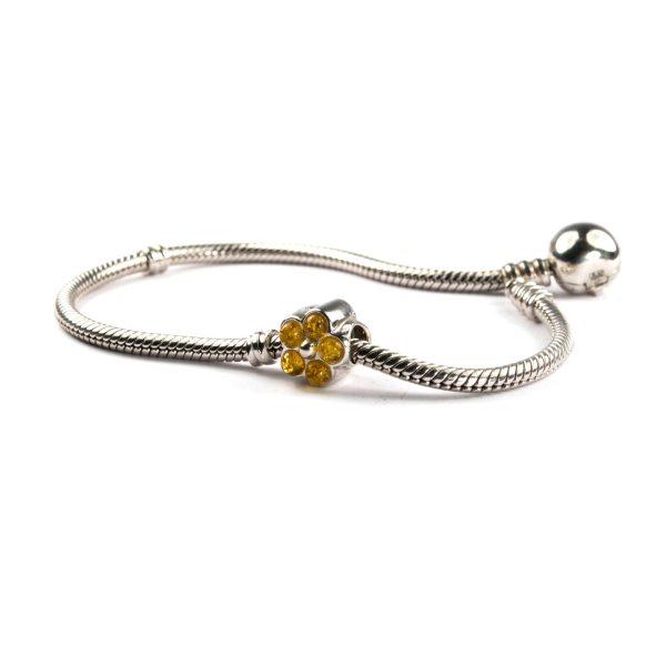 Pandora Style Amber Charm Flower on Bracelet