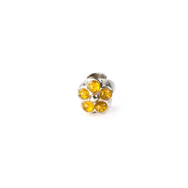 Pandora Style Amber Charm Flower