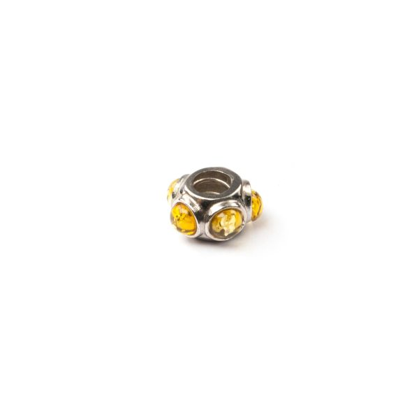 Silver Charm With Yellow Amber Side