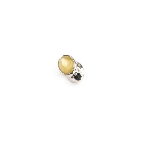 Pandora Style Bead with Matte Amber Side