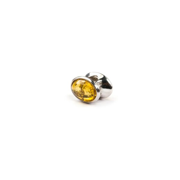 Pandora style bead with yellow amber