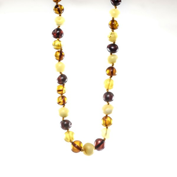 Unpolished Multi Color Amber Necklace Close View