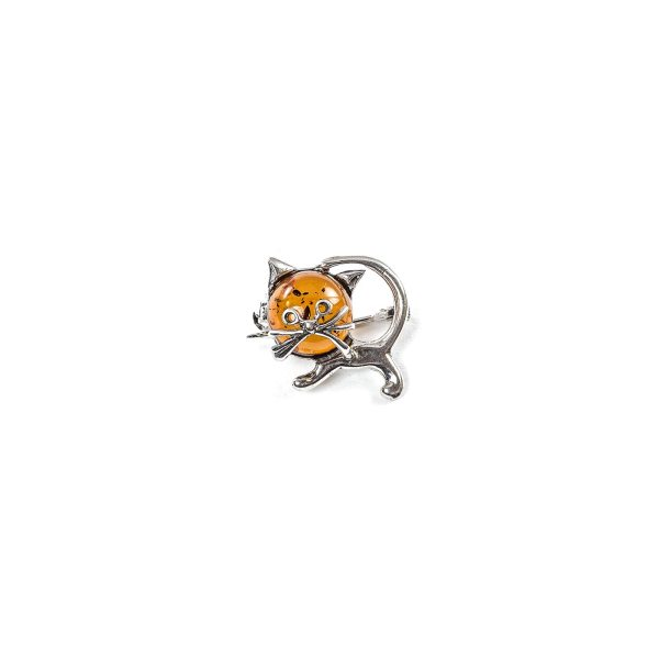 Funny Silver Brooch with Cognac Amber