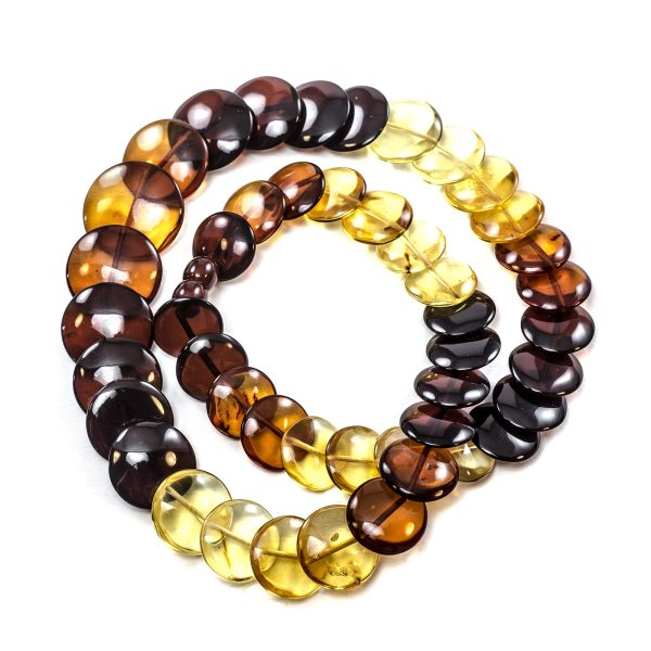 Natural Amber Necklace Rainbow Top View