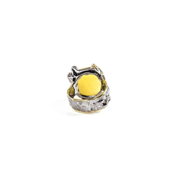 Delicate Female Ring With Amber and Amethyst