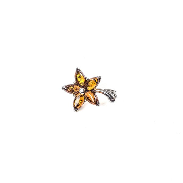 Siver Brooch with Cognac Amber