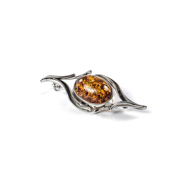 Silver Brooch With Cognac Amber Stone