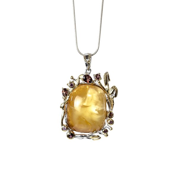 Pendant with Amber and Gemstones with Necklace