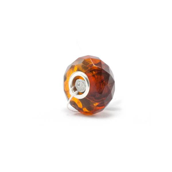 Amber Charm Cognac Faceted Bead Side