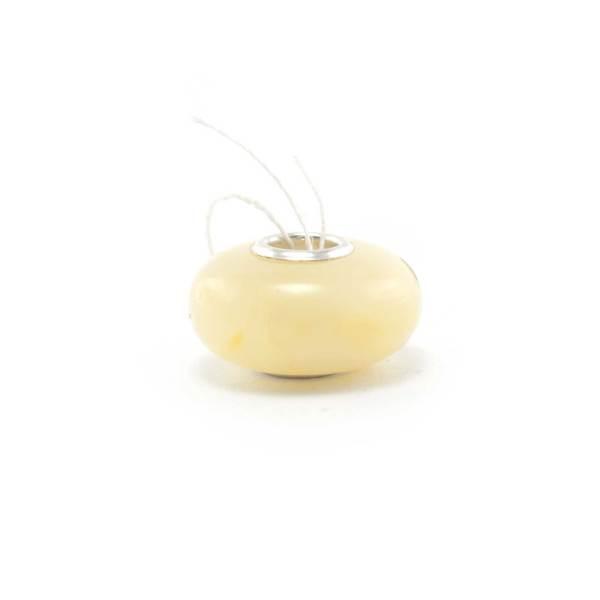 White Amber Charm Bead side