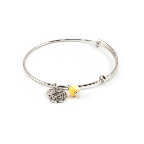 Sterling Silver Bracelet with Amber and Flower Pendant