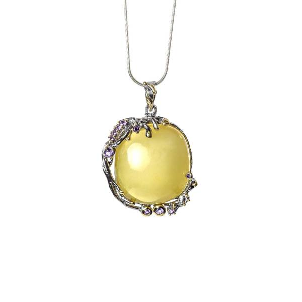Silver Frame Vintage Pendant with Amber And Amethyst with necklace