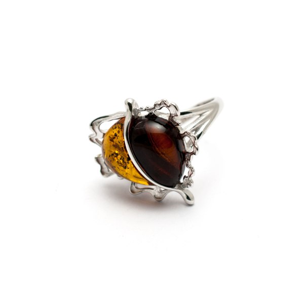 Sterling Silver Ring With Two Amber Stones