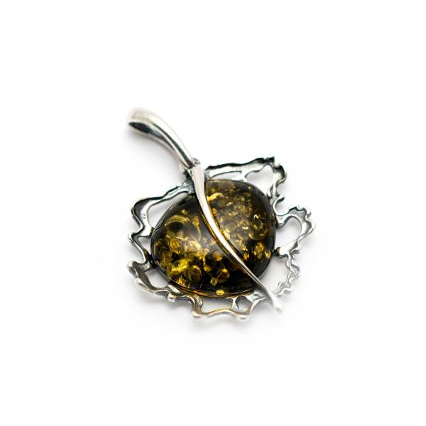 Vintage Sterling Silver Pendant with Green Amber