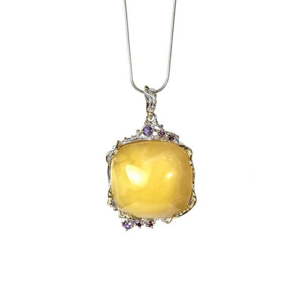 Unique Handmade Pendant with Amber and Amethyst with Necklace