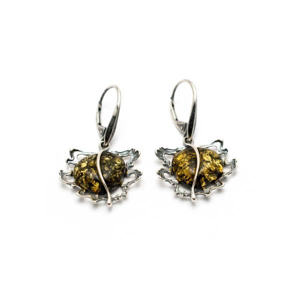Vintage Cognac Color Amber Earrings