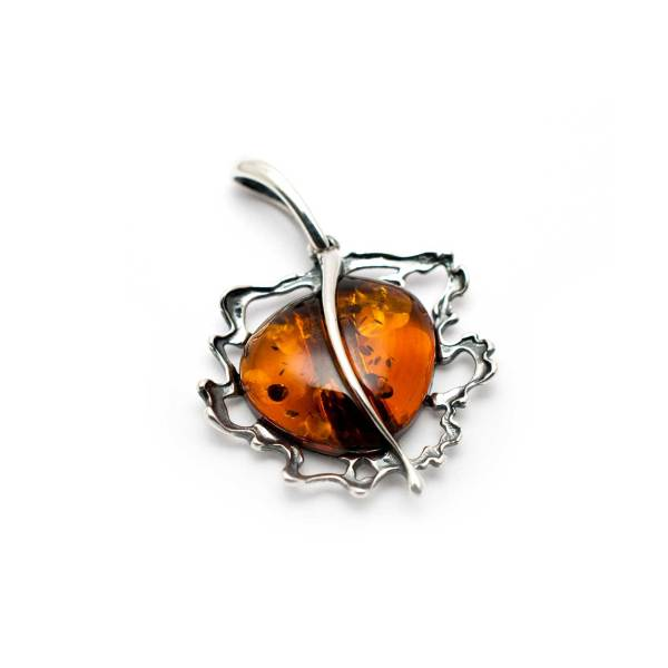 Vintage Sterling Silver Pendant with Cognac Amber