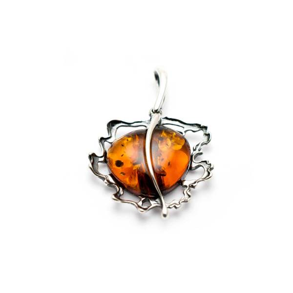Vintage Sterling Silver Pendant with Cognac Amber 2