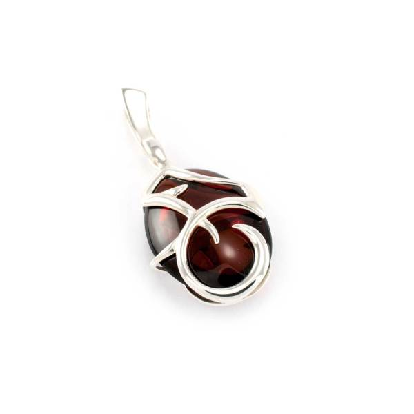 Azure Pendant in Sterling Silver and Cherry Amber