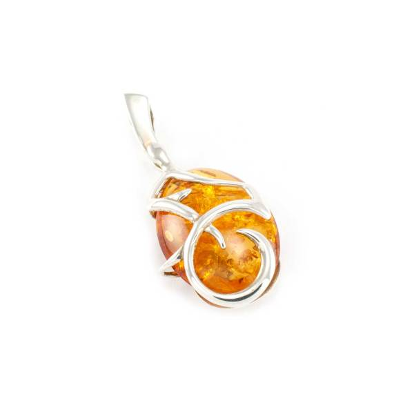 Azure Amber Pendant in Sterling Silver