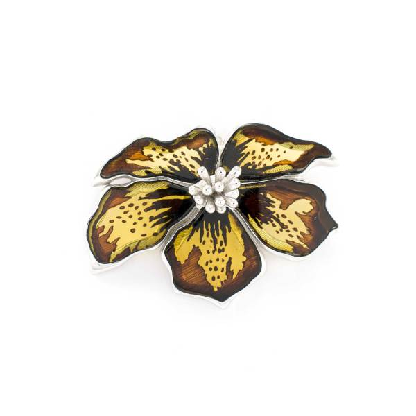Silver Flower Pendant with Carved Amber