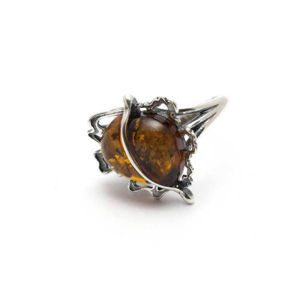 Vintage Silver Ring with Cognac Amber