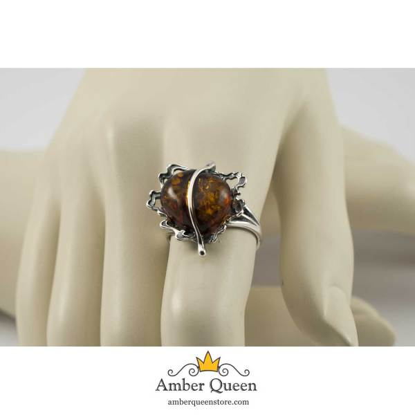 Vintage Silver Ring with Cognac Amber on Hand